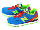 New Balance WL574BP B Pop Safari Pack Blue & Bright Green & Orange Retro Classic