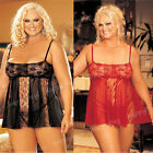 2014 Sexy Net And Lace Panels Babydoll Chemise Lingerie Nightwear Plus Size XXXL