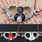 5x Crystal Double Ring Ribbon Heart Connector Bead Charm Pendant Jewelry Finding