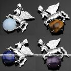 Silvery Flying Horse Ball Gemstone Charm Beads Quartz Agate Pendant Fit Necklace