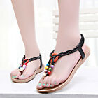 New Woman Bohemian clip toe Flat heel sandals shoes Flip-Flop decorated F