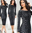Women Celebrity Bodycon Sexy Leopard Cocktail Party Evening Tunic Pencil Dress h