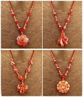 F1729 Handmade Red agate flower pendant & necklace 18 Inches,More size to select