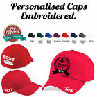 Embroidered Personalised BASEBALL CAP- 8 Cap Colours, any logo, text workwear