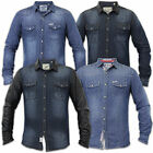 Mens Denim Shirts Soul Star Slim Fit PU Leather Look Collared Long Sleeved USA