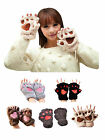 Winter Warm Fancy Bear Claw Fingerless Gloves Costume Cosplay Party Games Mitt