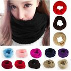 New Ladies Women Wool Knit Winter Warm Knitted Neck Circle Cowl Snood Scarf XMAS