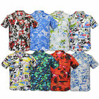 Mens Shirts Hawaiian Floral Palm Tree Print Holidays Beach Short Sleeved Summer