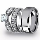 Best 3 Pcs Mens Tungsten Womens Stainless Steel Engagement Wedding Ring Set