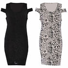 Women Ladies Shoulder Cut Out Back Stretch Bodycon Zebra Print Mini Dress Top