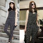 New Women's Sleeveless Wave Dot Jumpsuits Romper EA One-pieces Vest Harem Pants