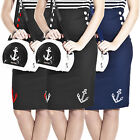 Collectif Anchor Sailor Nautical Rockabilly Pinup Fitted Wiggle Pencil Skirt