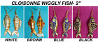 "NEW- 2"" LONG HANDPAINTED CLOISONNE LARGE WIGGLY FISH WIRE EARRINGS"