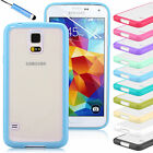 TPU BUMPER WITH CLEAR HARD BACK CASE COVER FOR SAMSUNG GALAXY S5 I9600