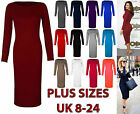 Women Ladies Long Sleeve Plain Stretch Bodycon Knee Length Midi Dress Plus Size