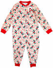 Girls Minnie Mouse Love Popper Sleepsuit Onesie Romper Pink Pyjamas 4-10yrs NEW