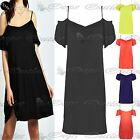 Womens Cut Out Shoulder Ladies Camisole Stretchy Strappy Vest Top Swing Dress