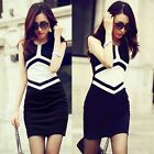 Fashion Color Blocking Sleeveless Hip-wrapped Women's Wear To Work Pencil Dress