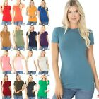 Women's Crew Neck Short Sleeve T-Shirt Soft Stretchy Cotton Long Tee Top GT-3008