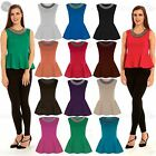 New Womens Sleeveless Ladies Neck Embellished Stretchy Flared Pleated Peplum Top