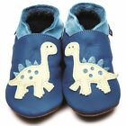 Inch Blue Girls Boys Luxury Leather Soft Sole Baby Shoes - Dino Blue & Cream