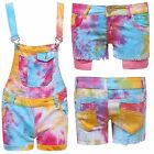 Womens Ladies Tie And Dye Print Pinafore Dungree Playsuit Denim Shorts Hotpants