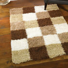 Modern Checked Shaggy Pile Rugs - Brown Cream & Beige | 3 SIZES Inc Large