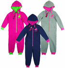 Girl's Polo Logo All in One Hooded Zip Pyjamas Sleepsuit Romper 7-13yrs NEW
