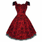 Hearts and Roses London Red Tattoo Flare 50s Vintage Party Prom Swing Dress
