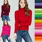 S M L Women's Long Sleeve Turtle Neck Fitted Rib Sweater Soft Knit Top SW2669