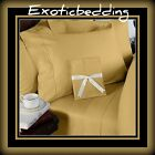 Gold Solid 4-Piece Bed Sheet Set 1000 Thread Count Egyptian Cotton