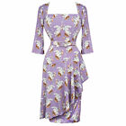 Hell Bunny Waterfall Lilac Autumn Floral Sarong Style Pencil Dress