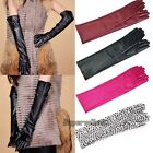 Women's Warm Fashion New Lambskin Leather Opera Long Gloves Black Lambskin