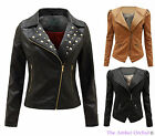 LADIES PU PVC FAUX LEATHER WOMENS ZIPPED BOMBER FITTED BIKER JACKET COAT 8-16