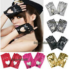HOT Women Leather Punk Dance Motorcycle Gloves Driving Biker Fingerless Mittens
