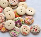 E572 Mix Printing flower Wood Button DIY Craft Sew Appliques 20mm 20/100/500pcs