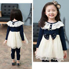 Baby Girls Toddler Kids Long Sleeve Lace Dress One-piece Bowknot Cotton Skirt