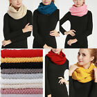 Chic Winter Warm Infinity 2 Circle Cable Knit Cowl Neck Long Women's Scarf Shawl