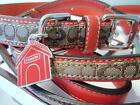 New COACH SET DOG HOUSE CHARM ORANGE GERANIUM LARGE DOG COLLAR & LEASH SET L