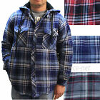 Dickies Jackets Mens Hooded Sherpa Lined Flannel Overshirt Plaid Jacket 7050