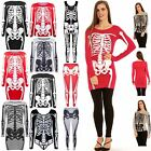Womens Halloween Ladies Jersey Skeleton Bones Bodycon Tunic T Shirt Dress Top