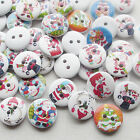 E647 Santa Christmas Wood Buttons Sewing Craft Mix Lots 15mm 10/50/100/500pcs