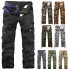 Mens Casual Military Army CARGO CAMO Combat Work Zipper Pants Trousers New