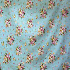 FFA-100-FLORAL ON LIGHT BLUE COTTON LINEN CANVAS UPHOLSETERY FABRIC BY 0.5 Yard