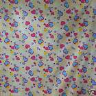 FFA-123 COLORFUL HEARTS COTTON LINEN CANVAS UPHOLSETERY FABRIC BY 0.5 Yard
