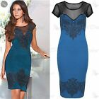 Womens Ladies Celebrity Inspired Sheer Mesh Insert Detail Bodycon Midi Dress Top