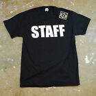 STAFF Black 100% Cotton T Shirt Front & Black Print Event Bouncer Party Uniform