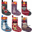 Traditional Tapestry Christmas Stocking Xmas Santa Snowman Reindeer 6 Designs