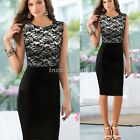 Sexy Women Floral Lace Sleeveless Slim Bodycon Cocktail Party Evening Dress