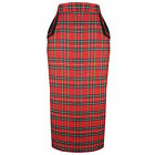 Red Tartain Plaid Retro Vintage Fitted Wiggle Pencil Skirt